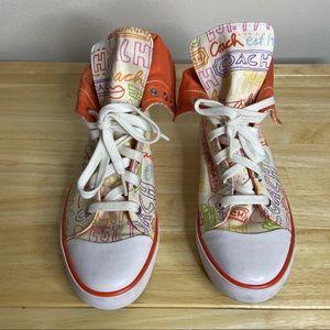 Coach Graffiti Orange Bonney High Top Sneakers